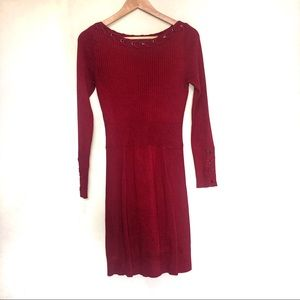 Caché red long sleeve sweater dress